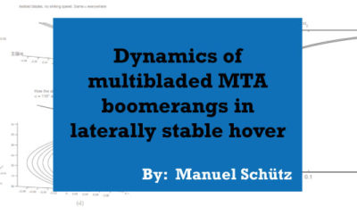Dynamics of multibladed MTA boomerangs in laterally stable hover